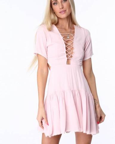 6e0fe933e990 Ružové dámske šaty so šnurovaním na prednej a zadnej strane