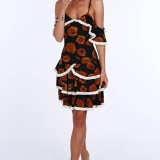 Čierno-hnedé dámske šaty s motívom vlčieho maku