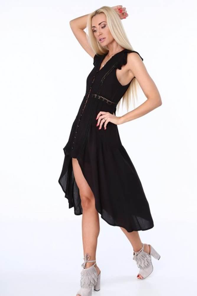 Čierne dámske šaty s predĺž...