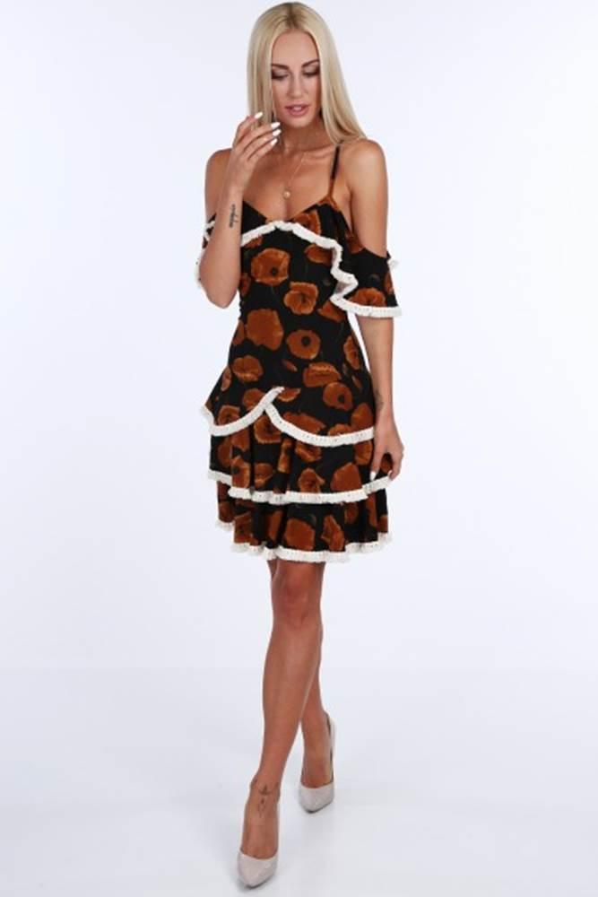 Čierno-hnedé dámske šaty s ...