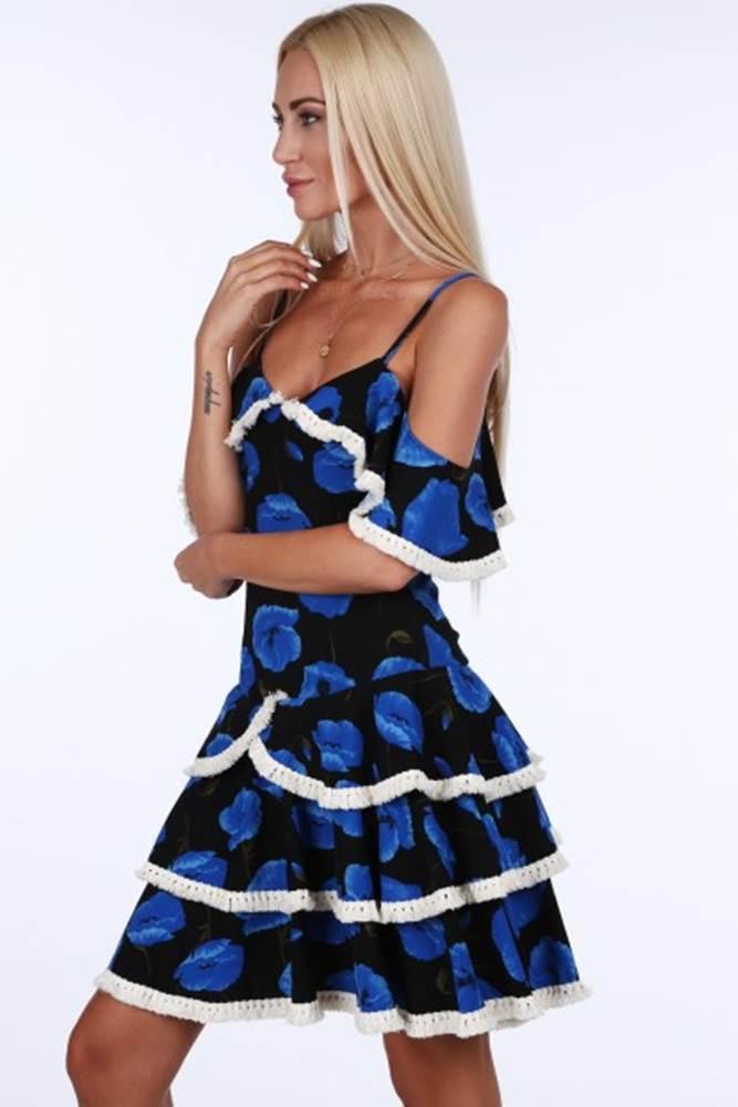 Čierno-modré dámske šaty s ...