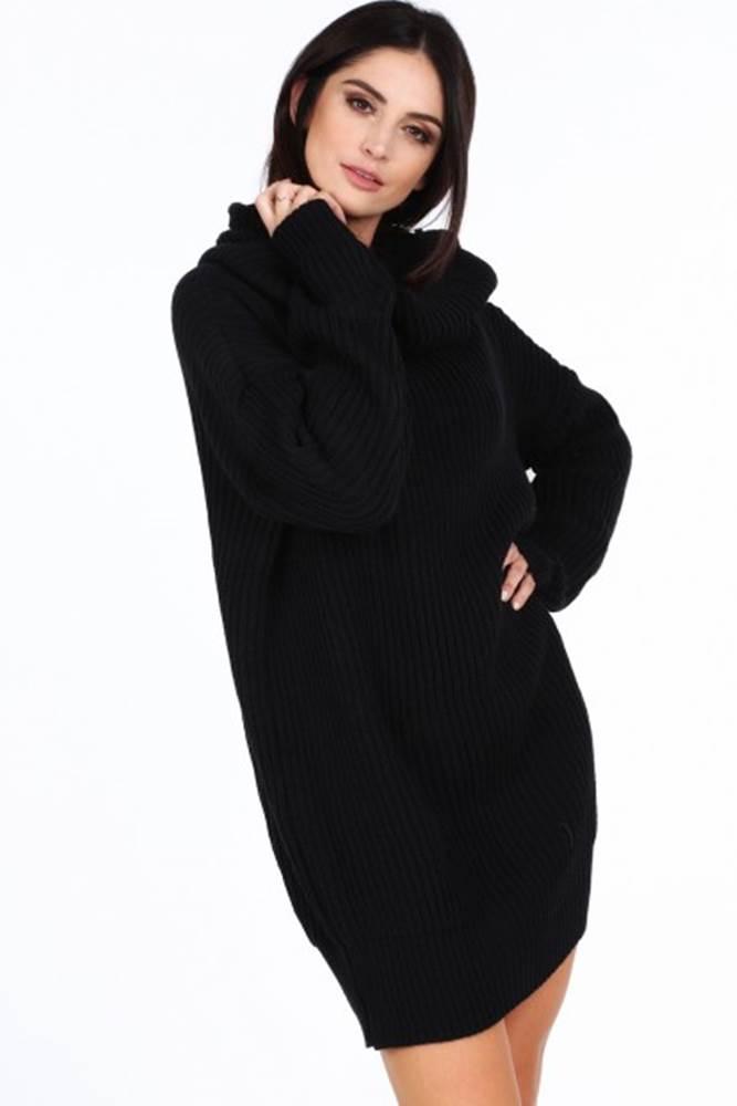 Čierny dámsky sveter s veľk...