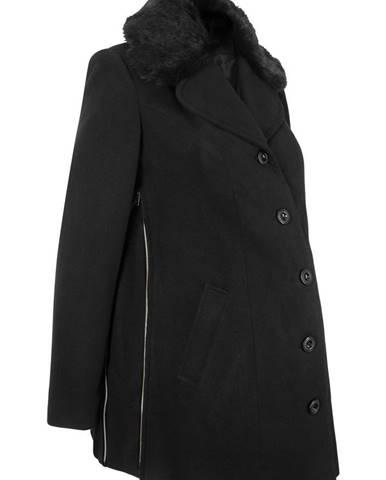 92b3ffaaa Tehotenský krátky kabát vo vlnenom vzhľade, kožušinková imitácia