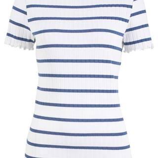 Vrúbkované tričko so zvlneným zakončením, krátky rukáv