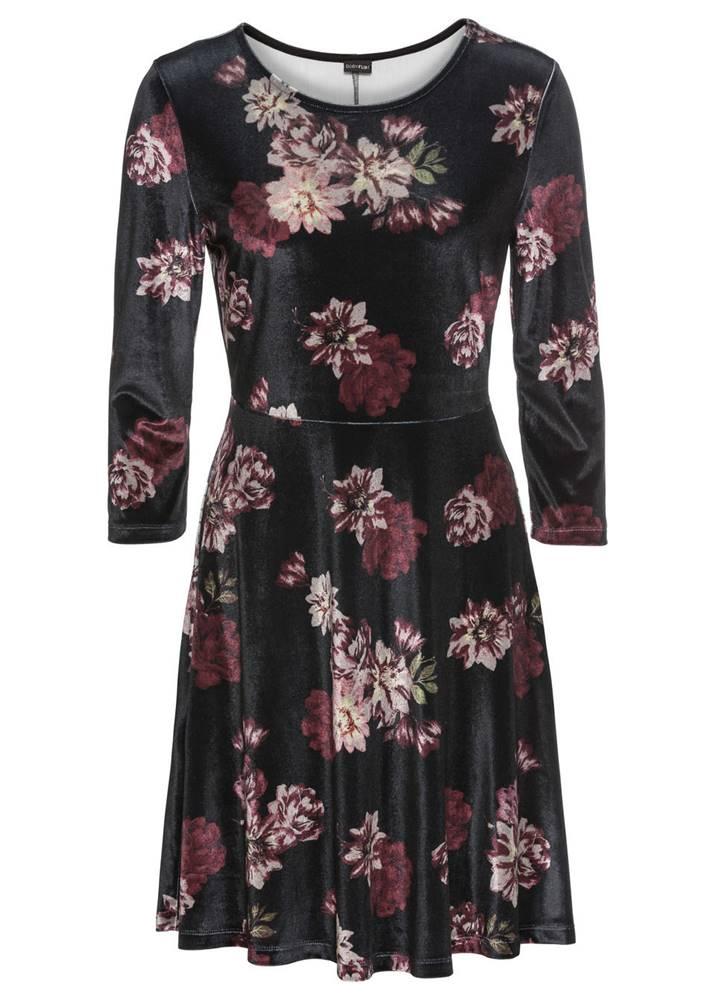 Zamatové šaty s kvetovaným ...