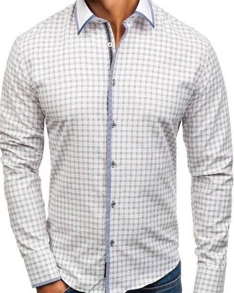 Bielo-bordová pánska károvaná košeľa s dlhými rukávmi