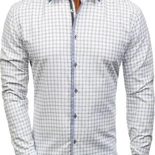 Bielo-čierna pánska károvaná košeľa s dlhými rukávmi