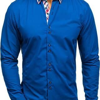 Kráľovský modrá pánska elegantá košeľa s dlhými rukávmi
