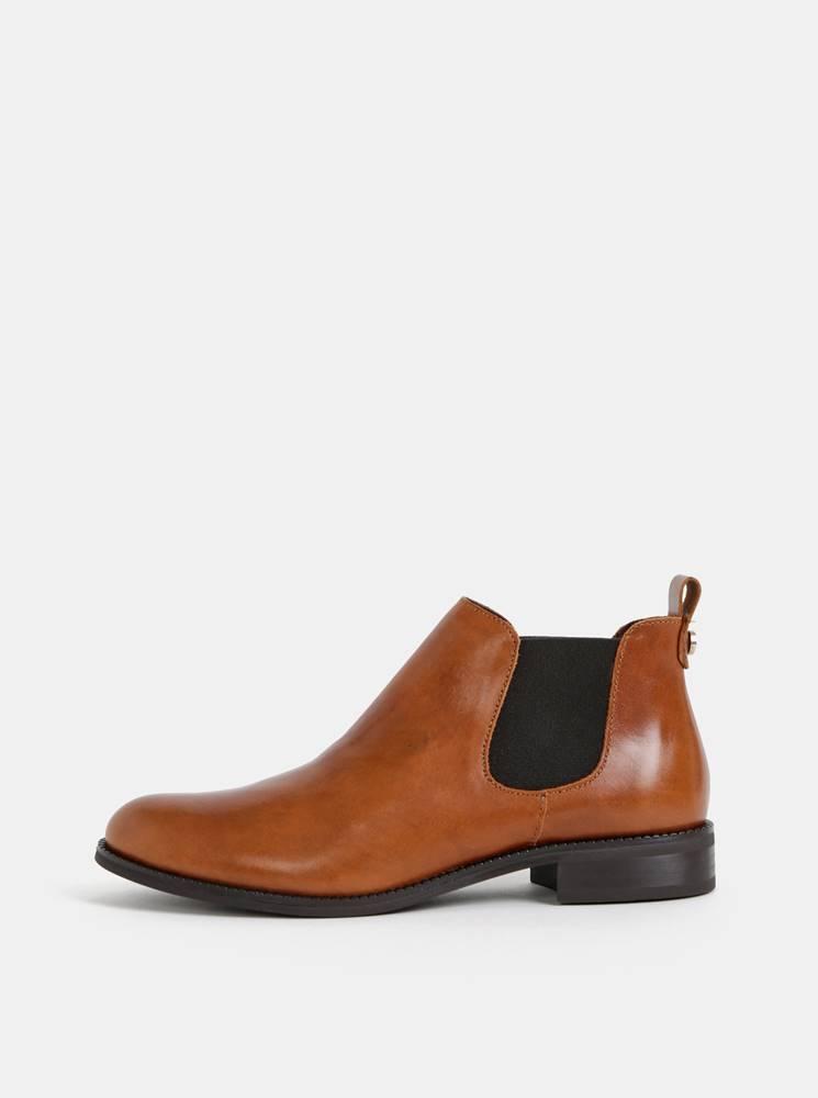 Hnedé kožené chelsea topánk...