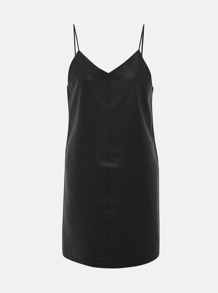 Čierne koženkové šaty Noisy...