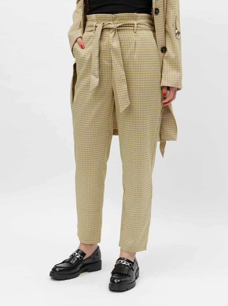 Béžové kockované nohavice s...