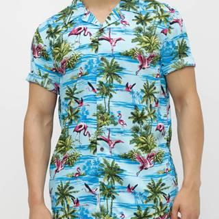 Modrá vzorovaná regular fit košeľa ONLY & SONS Sid
