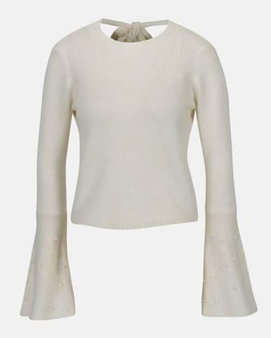 Krémový krátky sveter so zvonovými rukávmi a odhaleným chrbtom