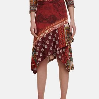 Červená vzorovaná sukňa Desigual Indira