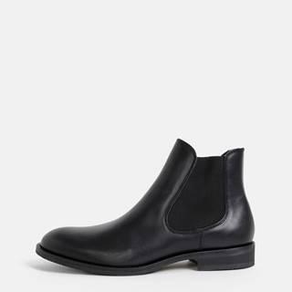 Čierne kožené chelsea boty Selected Homme Louis