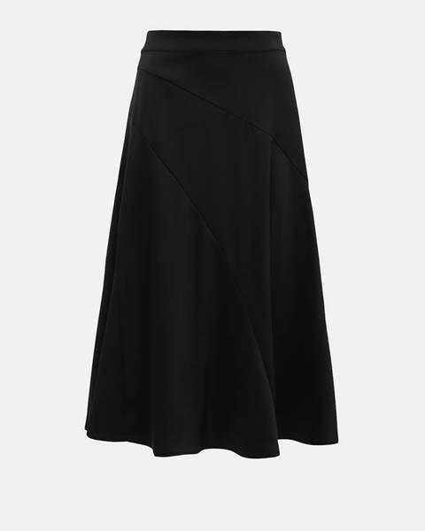 Čierna saténová midi sukňa VERO MODA Gabbi