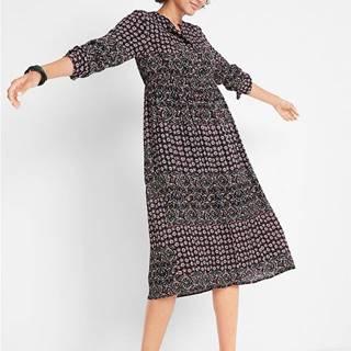 Maxi šaty, s potlačou, dlhý rukáv