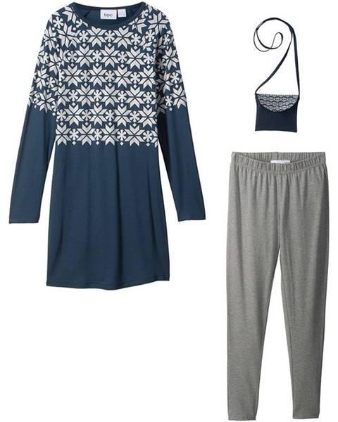 Šaty s dlhým rukávom + legíny + kabelka (3 ks)