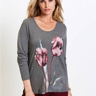 Tričko s dlhým rukávom, kvetovaná potlač