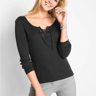 Vrúbkované bavlnené tričko so šnurovaním
