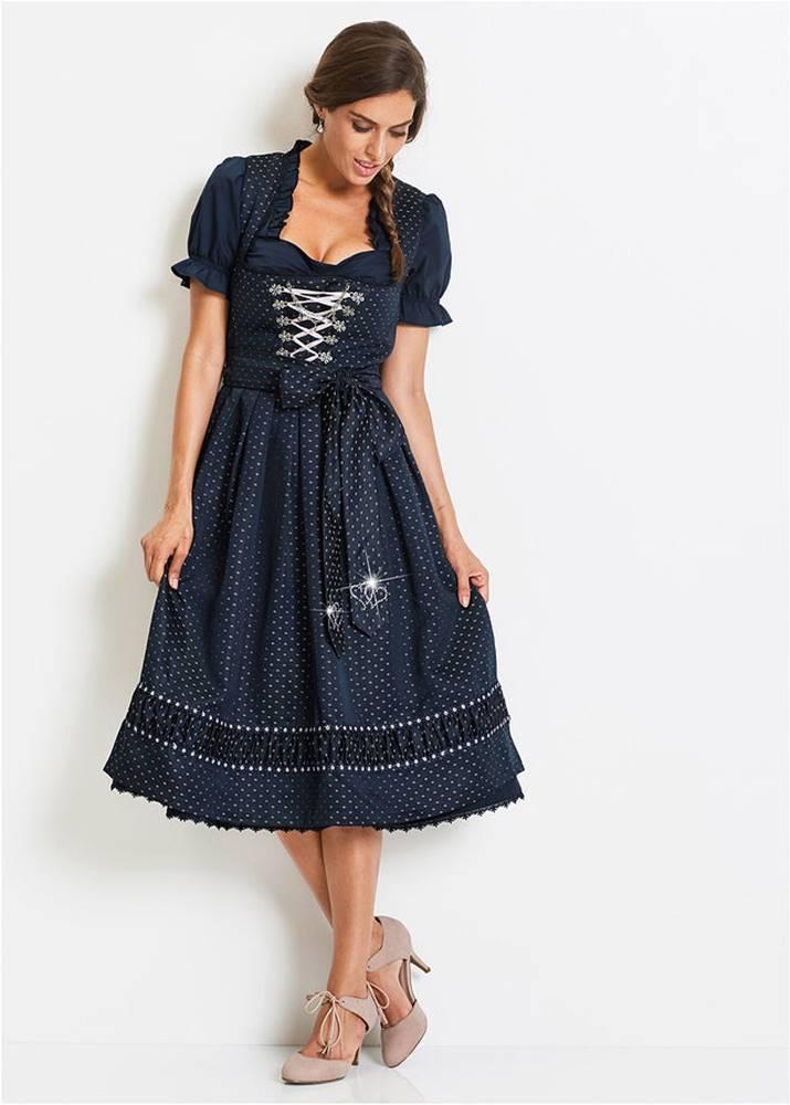 Krojové šaty dirndl so saténovou zásterou