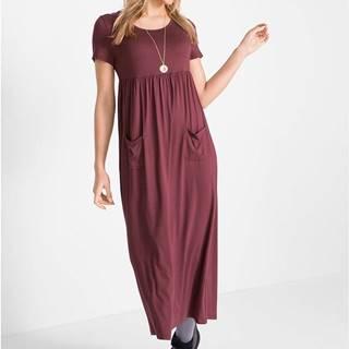 Strečové maxi šaty s okrúhlym výstrihom, krátky rukáv