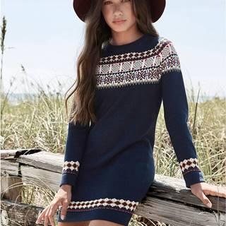Pletené šaty s nórskym vzorom