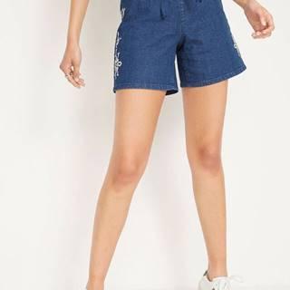 Strečové džínsové šortky s výšivkou