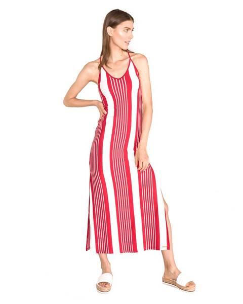 SuperDry Azur Šaty Červená Biela