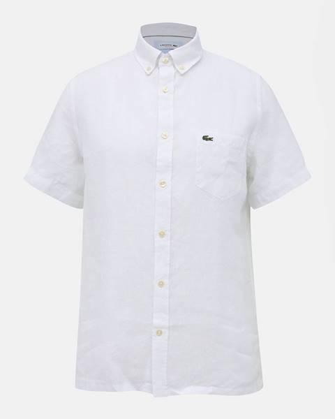 Biela pánska ľanová regular fit košeľa Lacoste