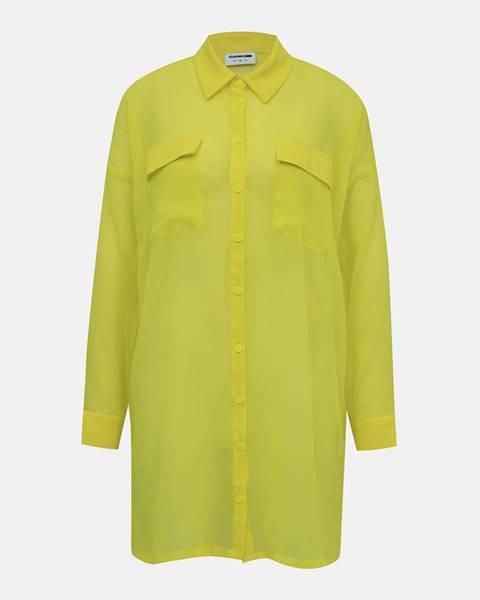Neonov žltá priesvitná košeľa Noisy May Neno