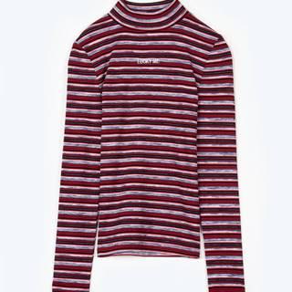 Prúžkované tričko s vysokým golierom, dlhým rukávom a výšivkou