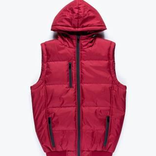 Vatovaná prešívaná vesta s kapucňou a kontrastnými zipsami