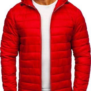 Červená pánska prešívaná športová prechodná bunda