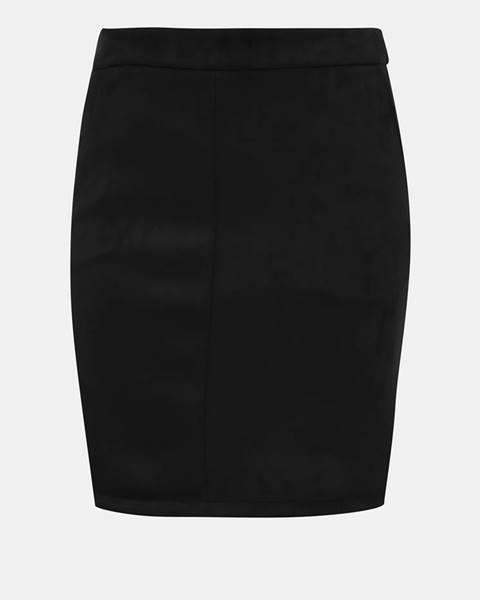 Čierna púzdrová sukňa v semišovej úprave VILA Faddy