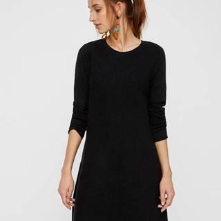 Čierne svetrové šaty s dlhým rukávom VERO MODA Nancy