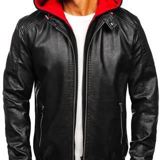 Čierno-červená pánska koženková bunda s kapucňou