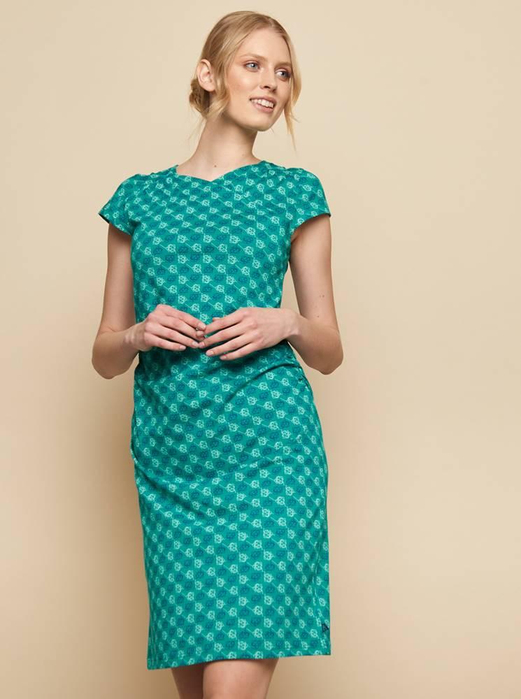 Tyrkysové vzorované šaty Tr...