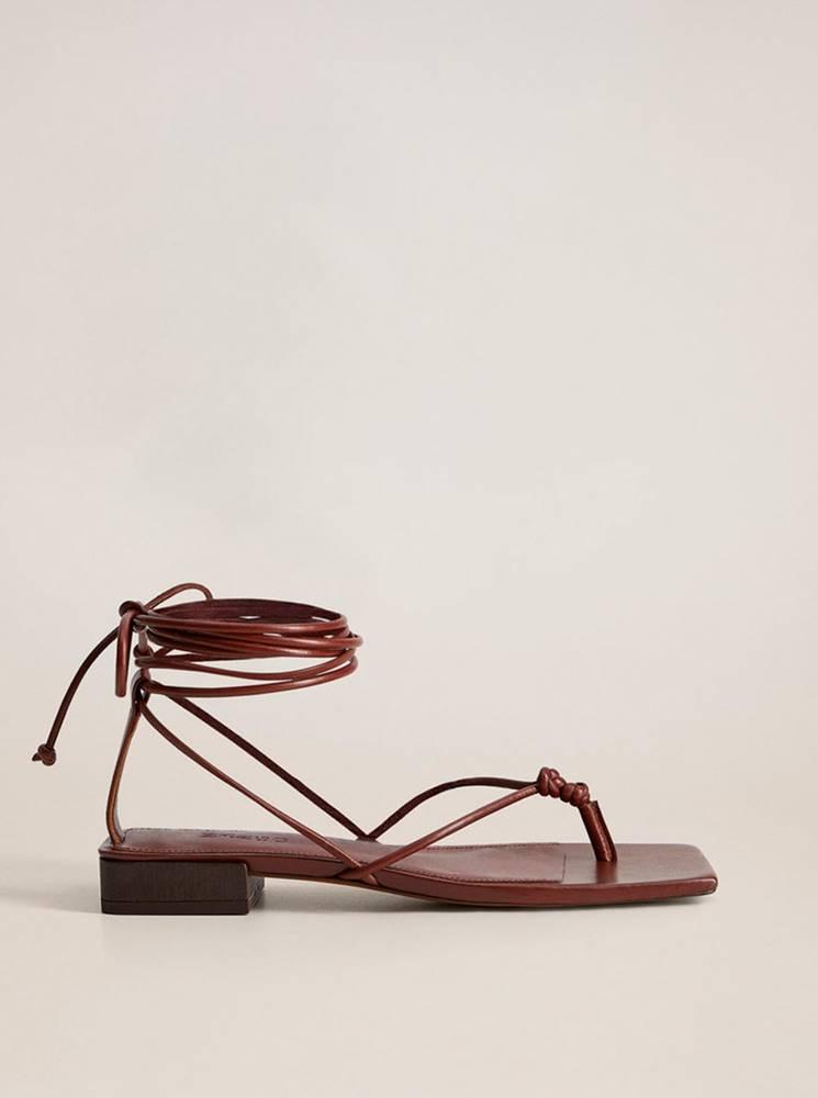 Vínové kožené sandále Mango...