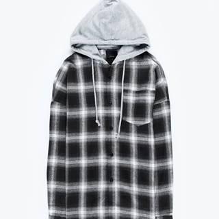 Károvaná košeľa s kapucňou