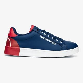 Topánky Trussardi Sneakers Leather Printing Modrá