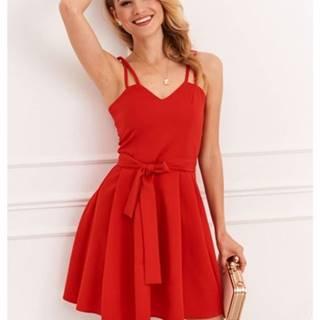 Nádherné dámske šaty s tenkými dvojitými remienkami, červené