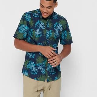 Modrá vzorovaná košeľa ONLY & SONS Timothy