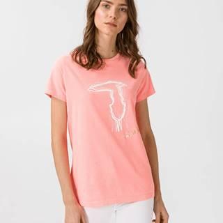 Trussardi Jeans Tričko Ružová Béžová