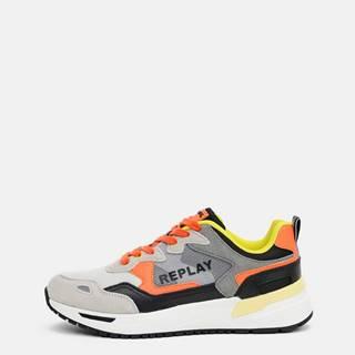 Oranžovo-šedé pánske tenisky s koženými detailmi Replay