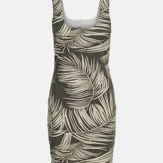 Kaki vzorované šaty ONLY Loui