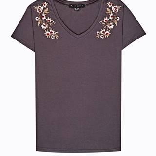 Tričko s kvetinovou výšivkou