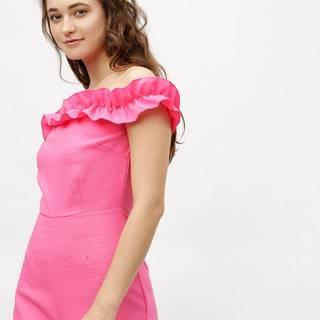 Ružový krátky overal s odhalenými ramenami MISSGUIDED
