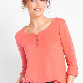 Bavlnené tričko s dlhými rukávmi s gombíkovou légou