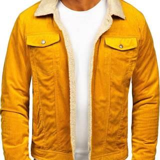 Žltá pánska zateplená menčestrová bunda